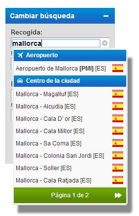 Cambiar localidad de alquiler en Mallorca